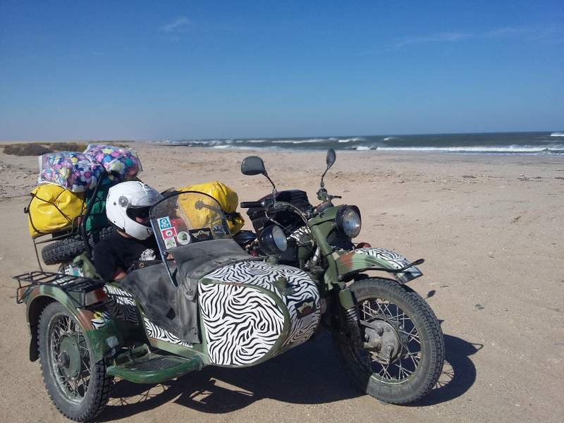 WINNING TEAM: Melanie Cowpland and her daughter Sofia, are traveling from London, England, to East London on a motorbike and sidecar to raise awareness for autism. They are expected to arrive in East London on Sunday