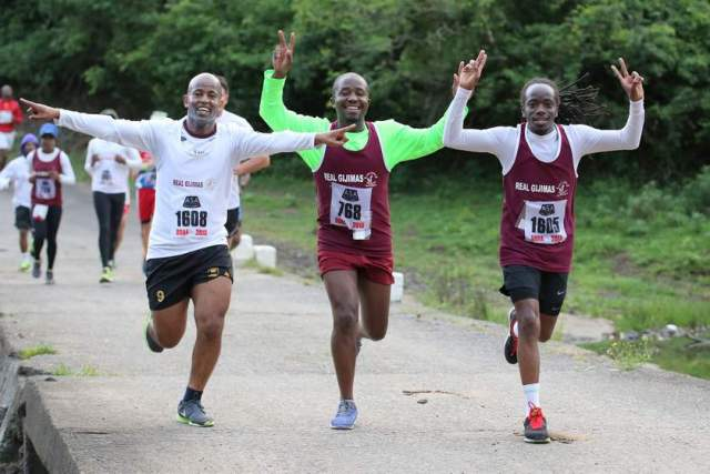 SOLE  BROTHERS: Sithembiso Kofi, Thamsanqa Jam-Jam and Ayanda Mxakatho of the Real Gijimas had a fun time participating in last year's 21km  Sole   Destroyer