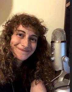 Jo Firestone and her Yeti Microphone.