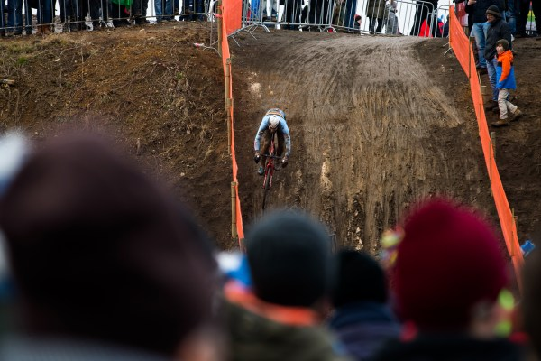 The drop during the men's race: mud. It was drier for the women. Photo by Nick Czerula