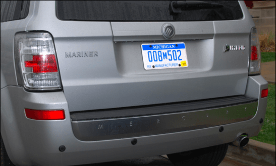 mercury mariner hybrid rear view manufacturer plates