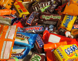 jumble of halloween candy