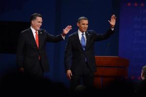 Mitt Romney and President Barak Obama at the Presidential Debate