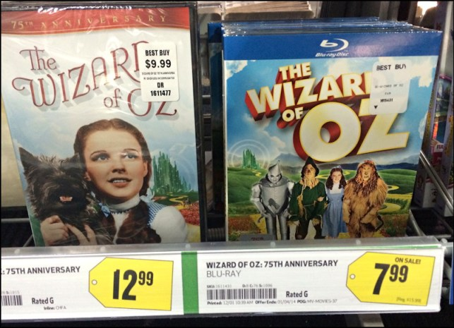 The Wizard of Oz, with various prices at Best Buy
