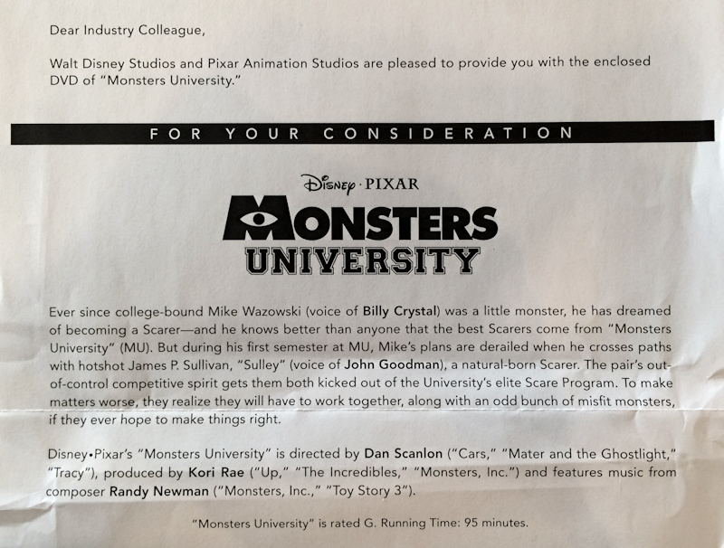 pixar mnosters university screener cover letter