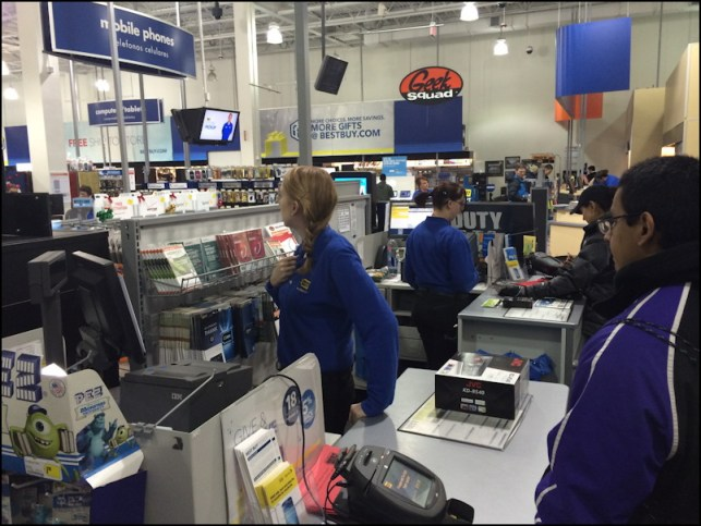 queued up to pay at best buy
