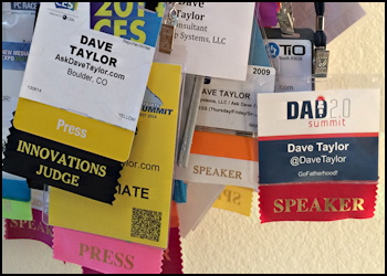 prepping for a trade show conference - badges