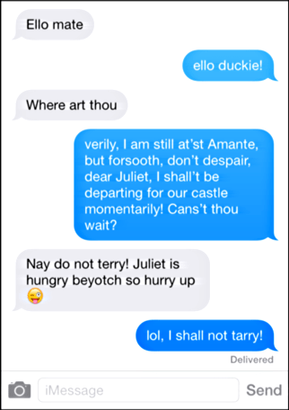 if william shakespeare texted as a teen
