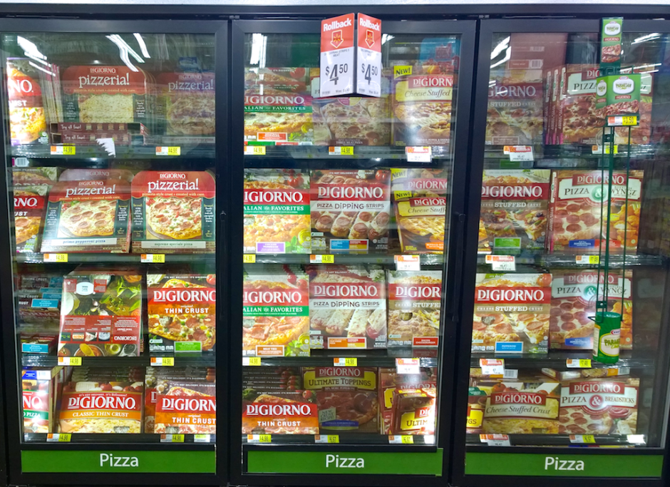 the digiorno aisle and display at walmart. pizza, pizza, and more pizza.