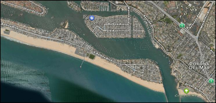 balboa island and peninsula, newport beach, ca