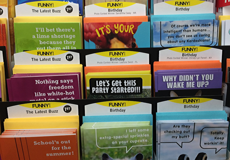 a shelf of buzzworthy connections by hallmark cards