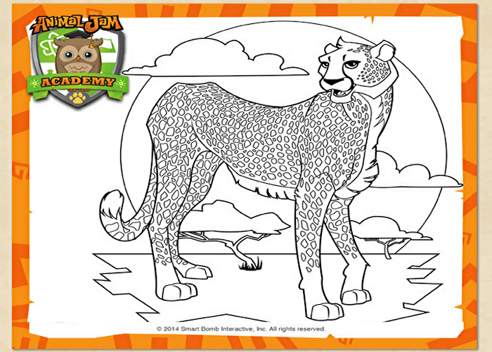 Cheetah coloring page from animal jam