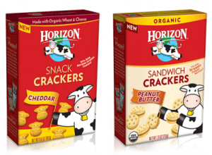 horizon organic snack crackers: cheddar and peanut butter