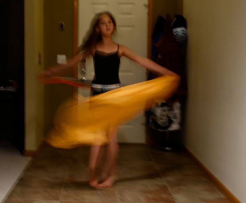 dancing in the hallway