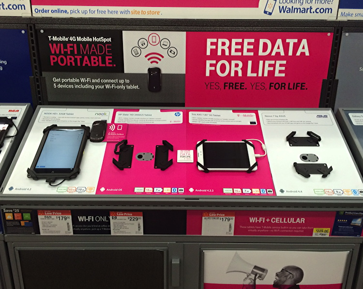 finding the trio axs tmobile tablet at walmart