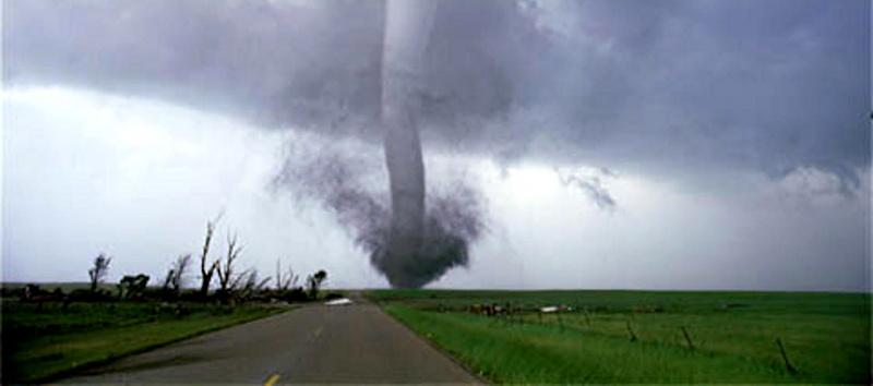 tornado heading up the street