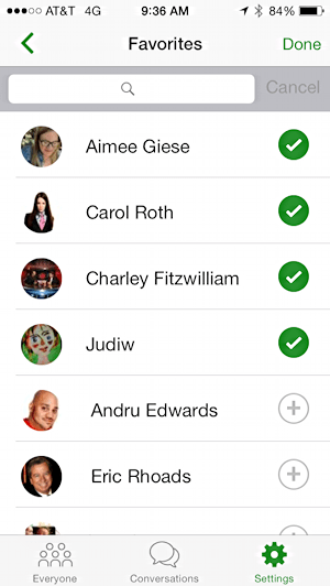 favorites list in message hub ios 8 app