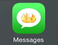 apple iphone ios imessages messages sms text message icon in flames