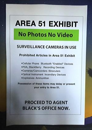 area 51 exhibit - no photos