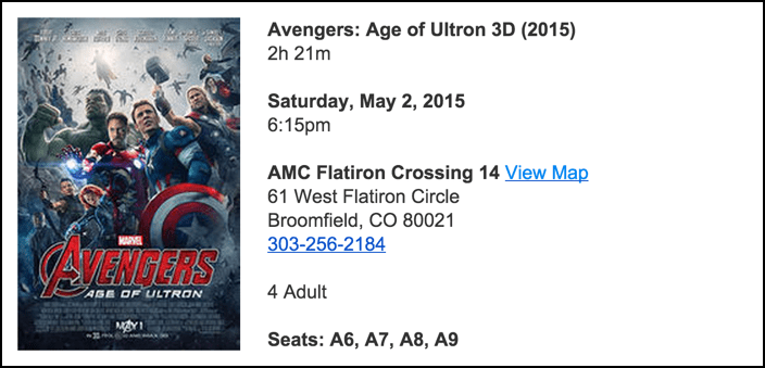 ticket receipt from fandango purchase, reserved seats