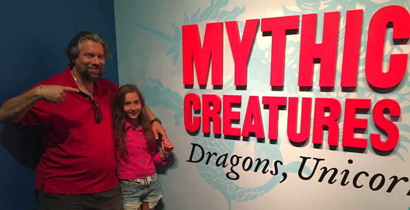 dave taylor and daughter, mythic creatures exhibit, dmns denver museum nature science