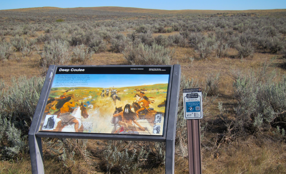 little bighorn sign with audio tour info