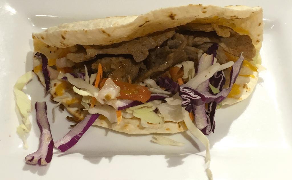 five spice pork tacos, bds mongolian bbq