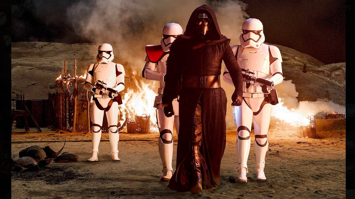 """kylo ren (adam driver) and his Stormtroopers, from """"Star Wars: The Force Awakens"""""""