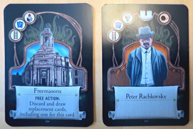 two cards from a study in emerald board game