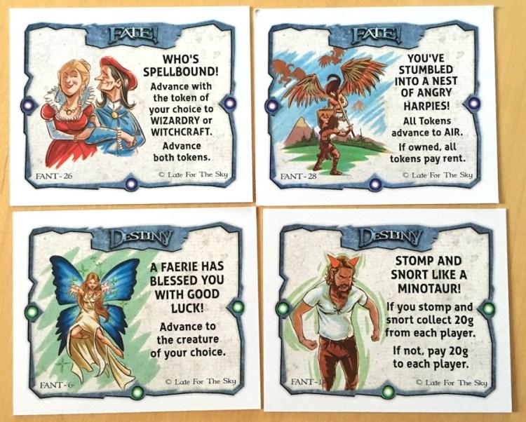 fantasy-opoly fate and destiny cards close up
