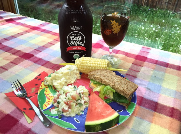 waiting for summer picnic plate with milo's cafe style sweet tea