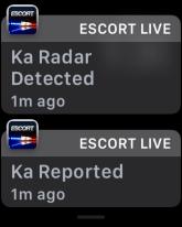 escort live ka radar detected, display on apple watch