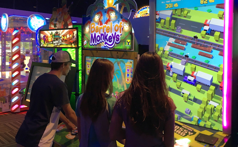 crossy road + barrel of monkeys at gameworks
