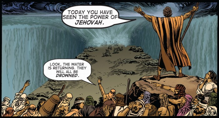 moses parting the red sea, from kingstone bible graphic novel