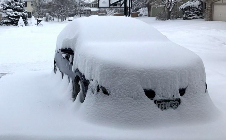 2017 toyota prius under 1 foot of snow