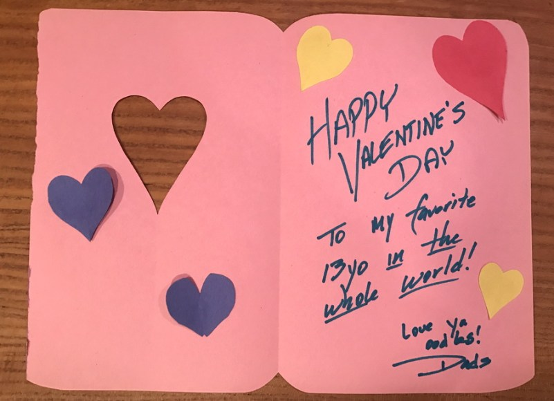 dad's handmade valentine's day card daughter pink cutout