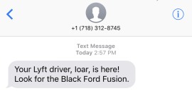 lyft vehicle arrival notification