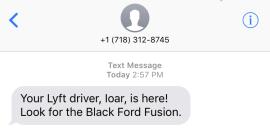 lyft vehicle arrival notification