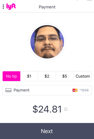 lyft ride done, tip pay