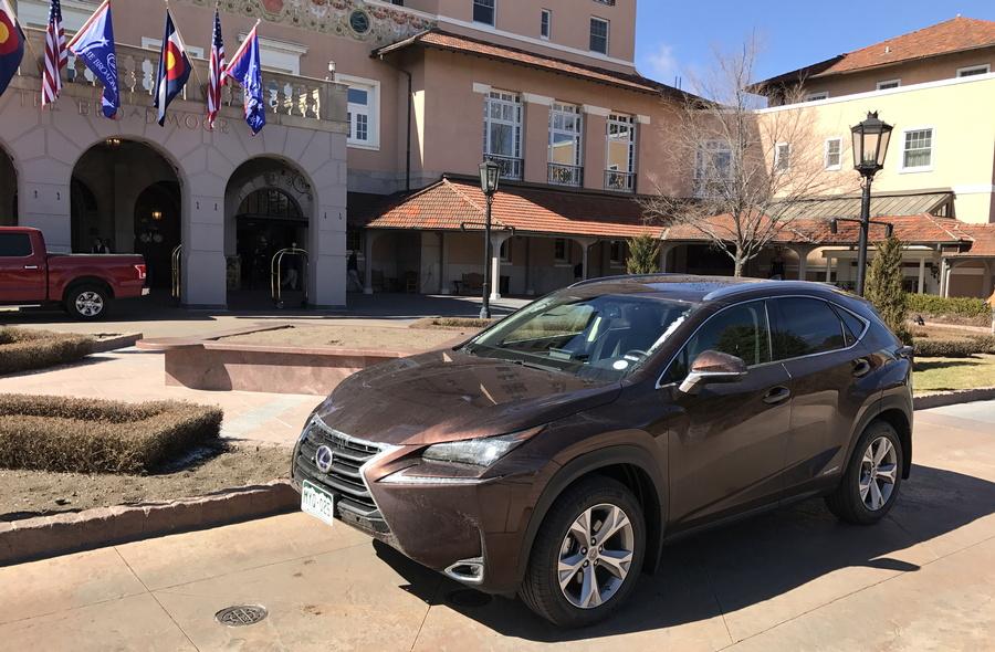 2017 lexus nx300h in front of the broadmoor hotel