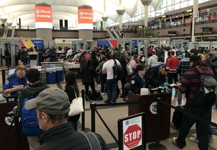 airport security tsa line denver international airport dia