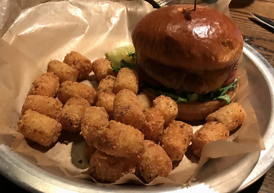 spicy turkey burger with tater-tots the wild game longmont