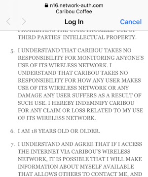 no-one under 18 can use caribou coffee wifi internet