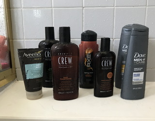 men's hair care personal hygiene products. in boring black colors