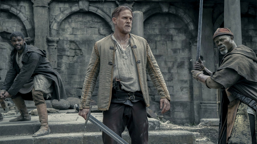 """Arthur Wields Excalibur, from """"King Arthur: Legend of the Sword"""""""