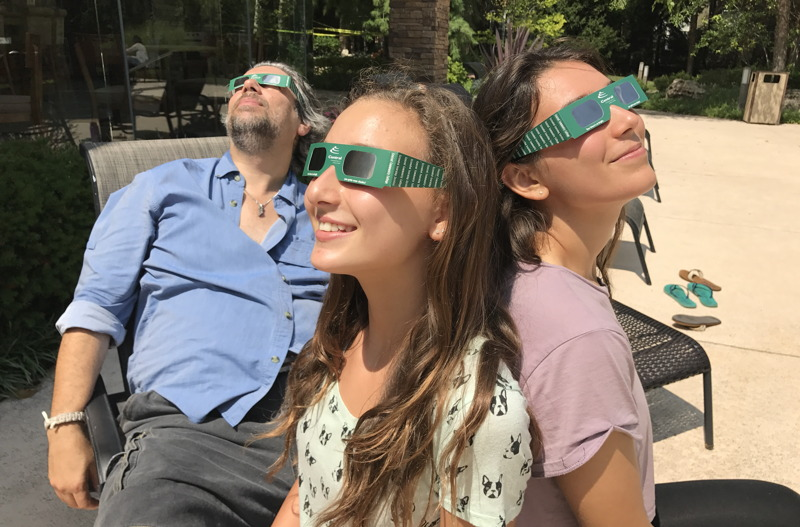taylor family watching the solar eclipse, aug 21, 2017, overland park / kansas city, ks