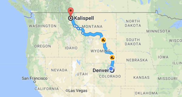 denver co kalispell mt driving route map
