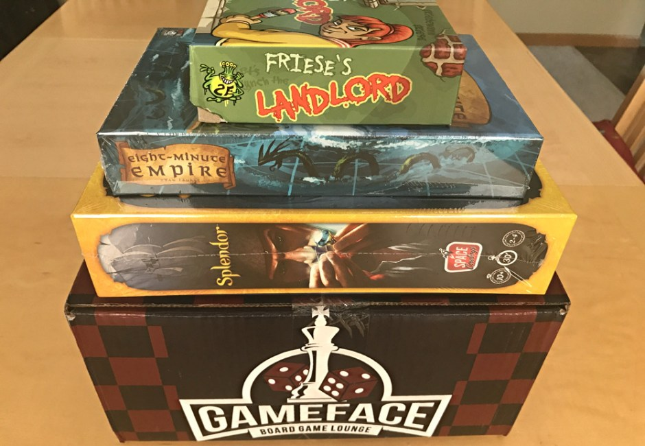 gameface subscription box - board games - splendor, eight minute empire, friese's landlord