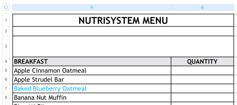 nutrisystem menu spreadsheet numbers