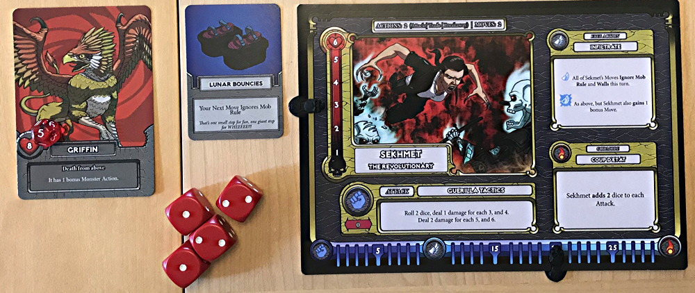 close up of hero card, mortals board game